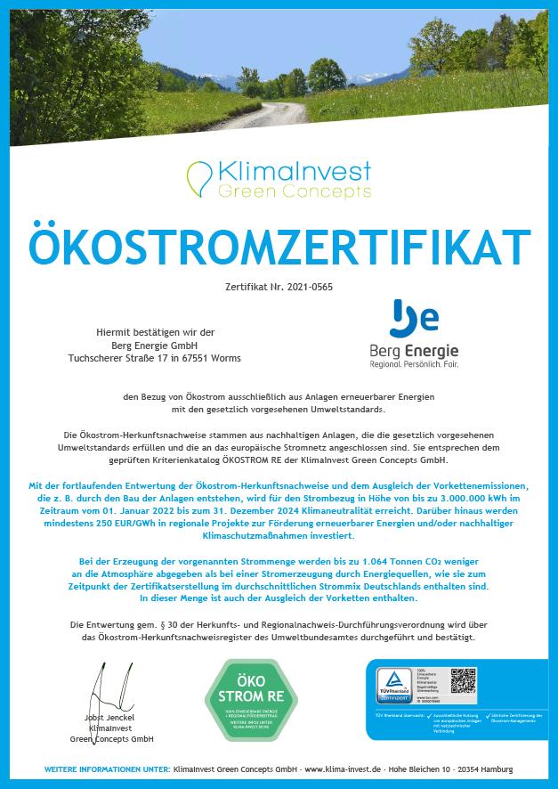 Berg Energie GmbH 2022-2024 I Naturstrom REGIO